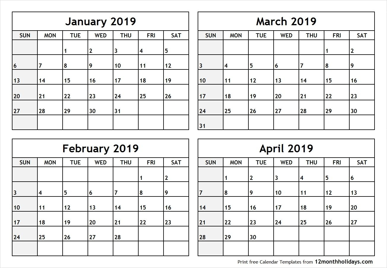 Printable Four Months Per Page 2020 Calendar | Example-4