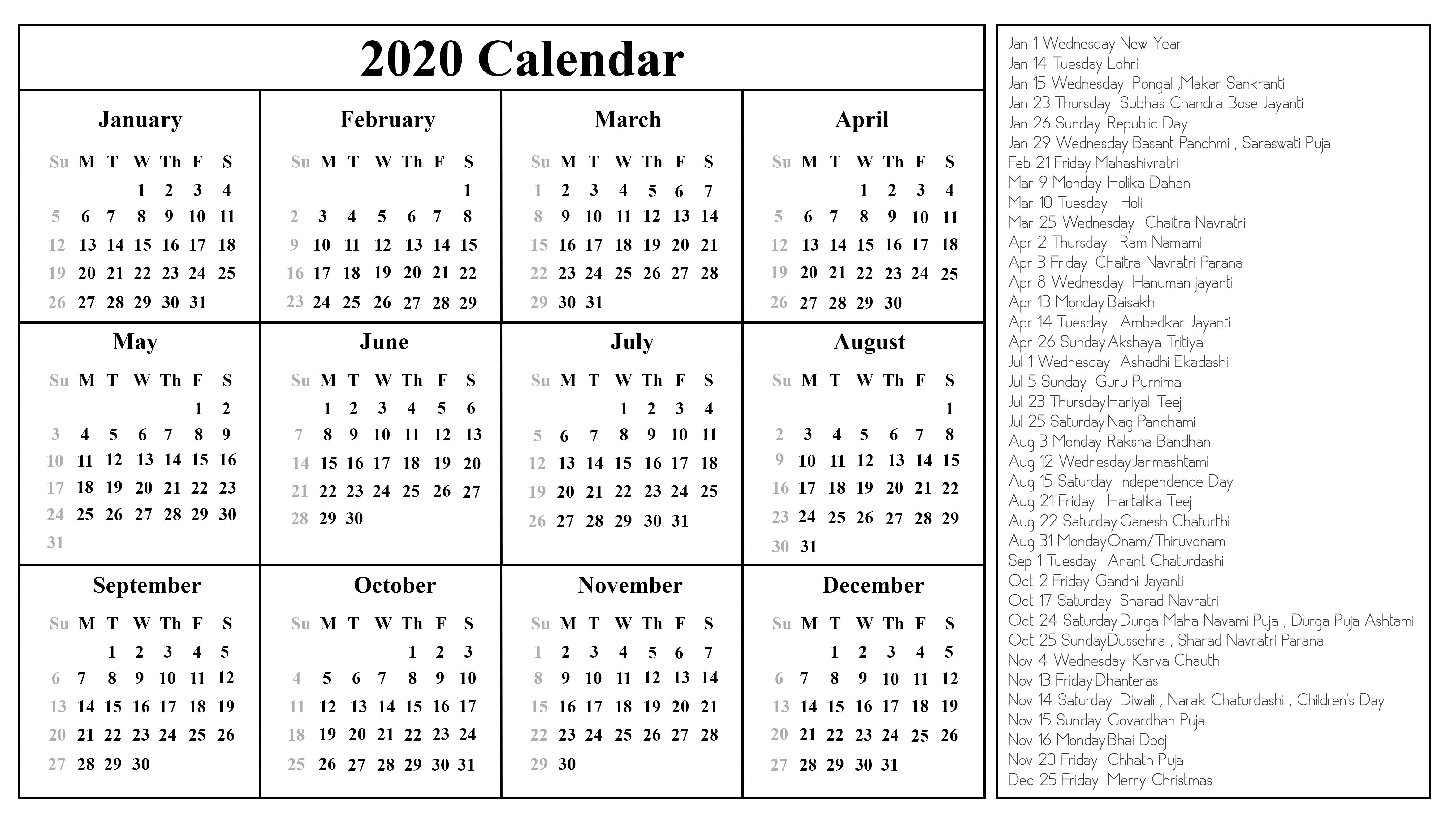 Printable Free Download Indian Calendar 2020 [Pdf, Excel & Word]