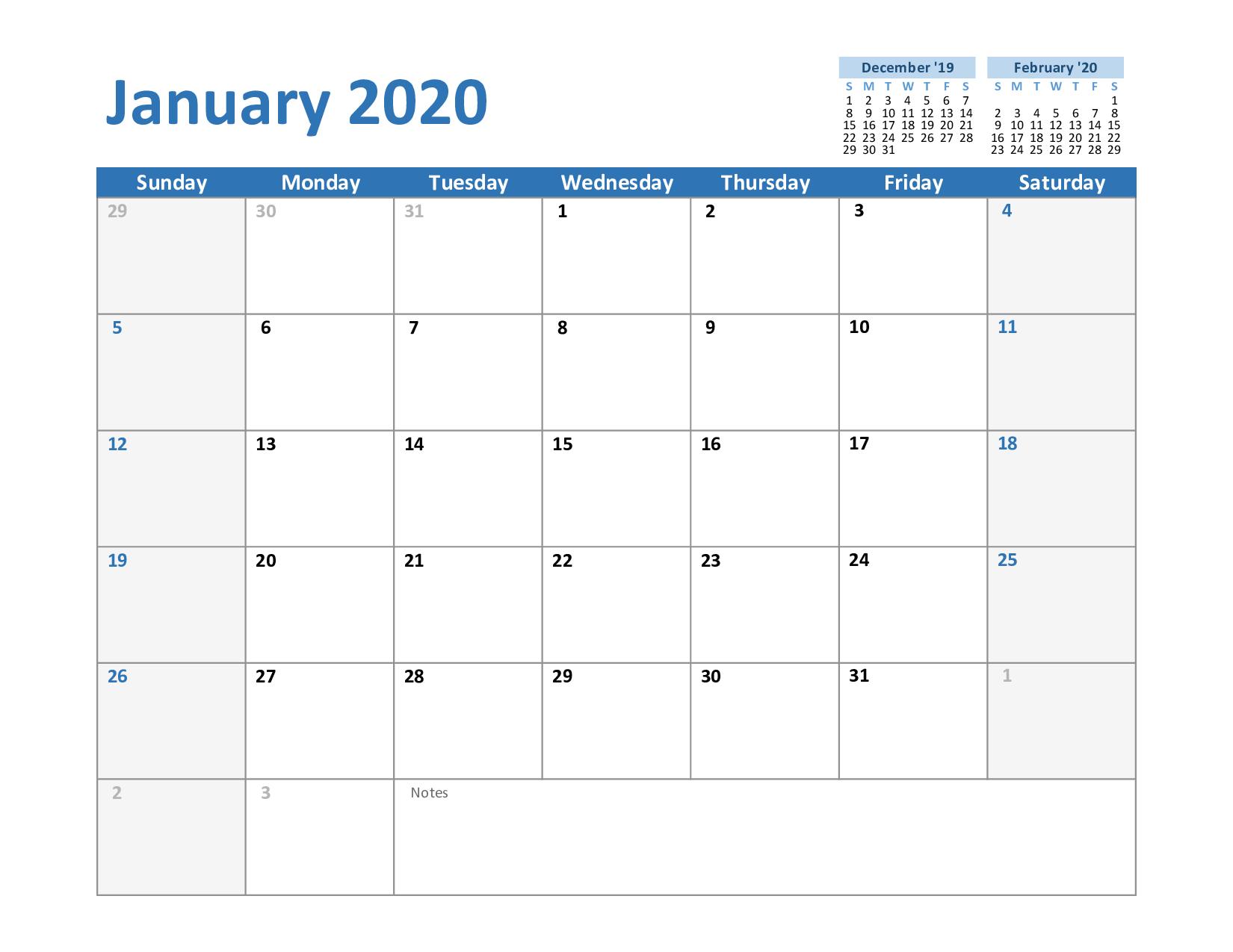 Printable January 2020 Calendar - Free Blank Templates