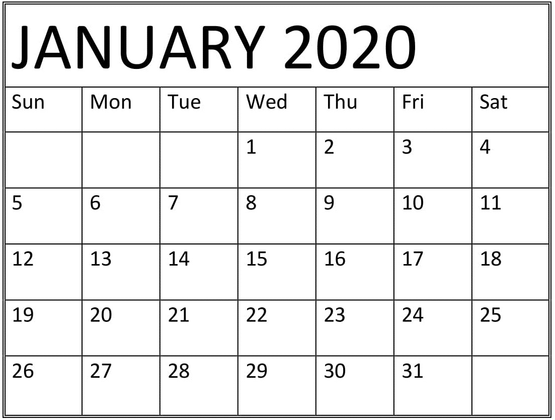 Printable January 2020 Calendar Monthly Template - Latest