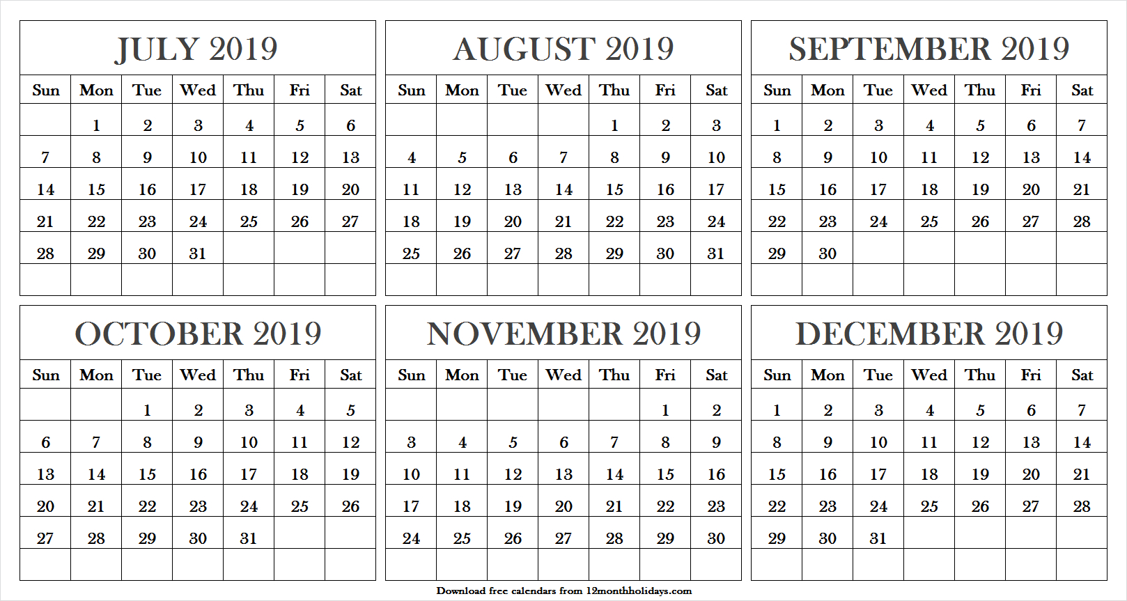 Printable July December 2019 Calendar | Calendar July 2019 Word
