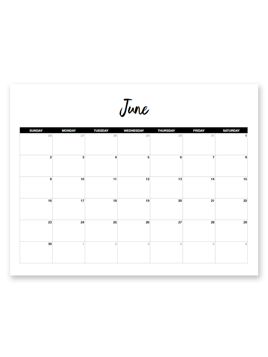 Printable June 2019 Calendar (Minimal