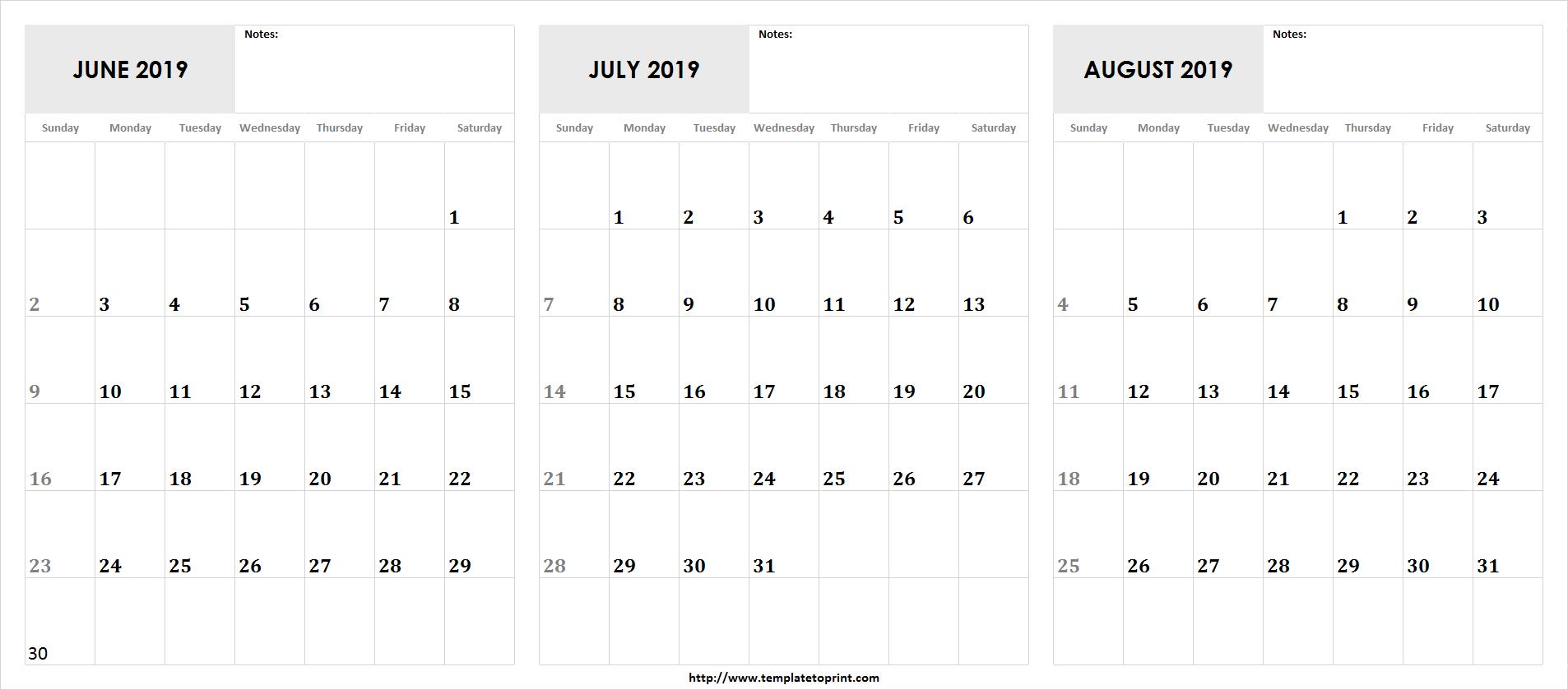 Printable June July August 2019 Calendar Template | 3 Month