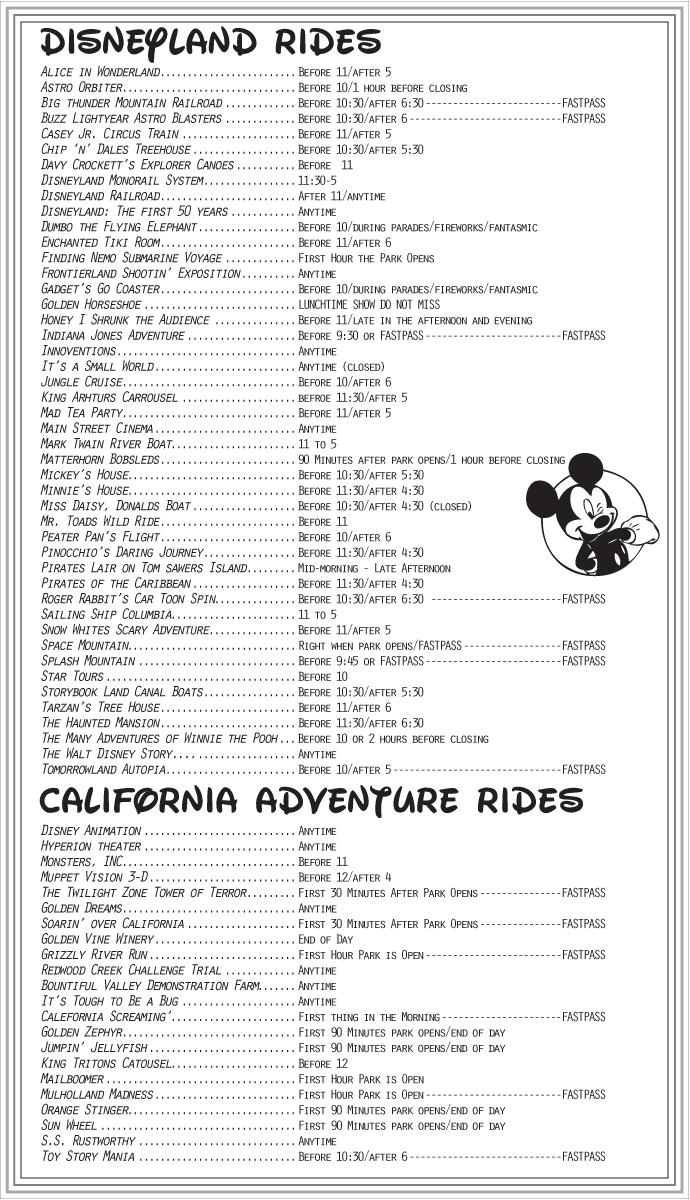 Printable Lists Of Disney World Rides - Slubne-Suknie