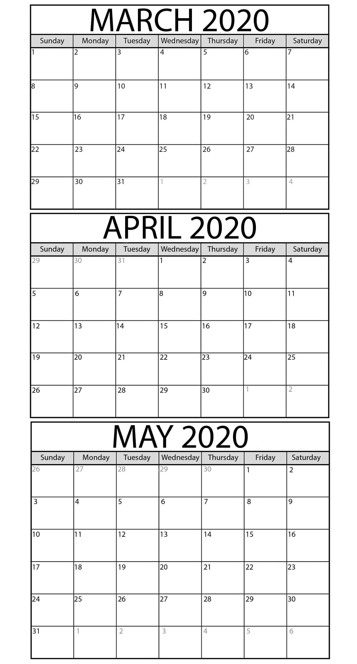 Printable March To May 2020 Calendar Templates - 2019