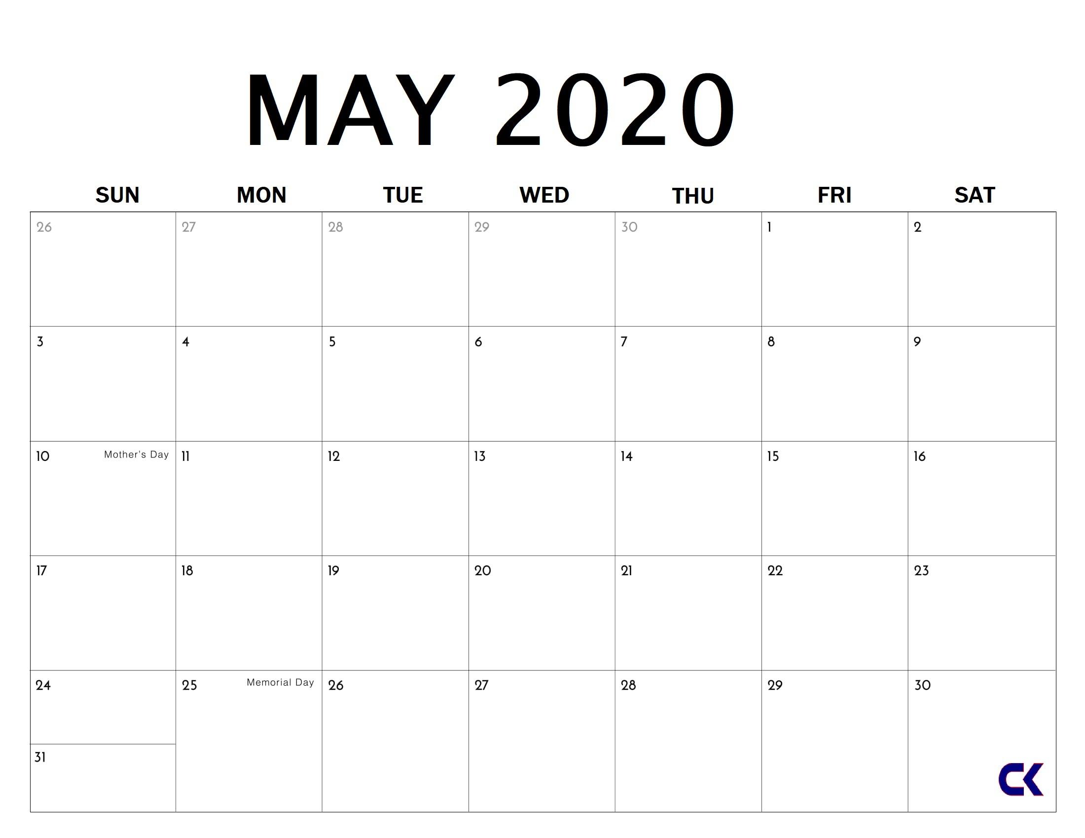 Printable May 2020 Calendar - Calendar-Kart