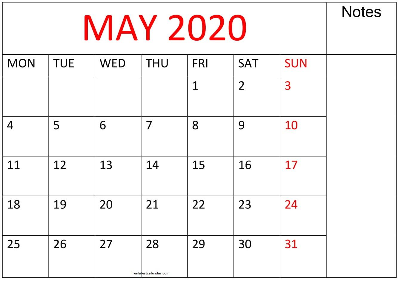 Printable May 2020 Calendar Large Print – Free Latest