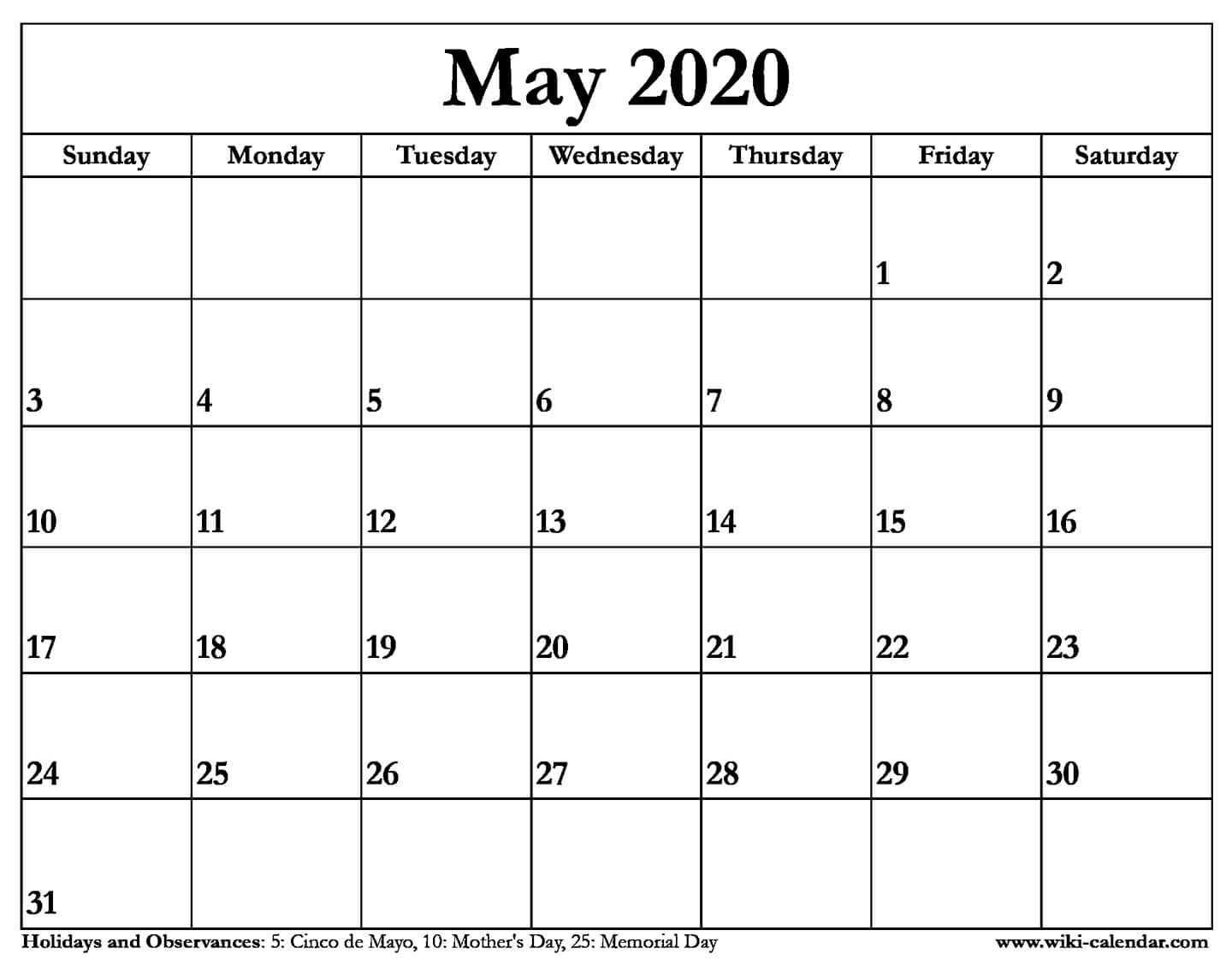 Printable Monthly 5 Day Calendar 2020 | Monthly Printable