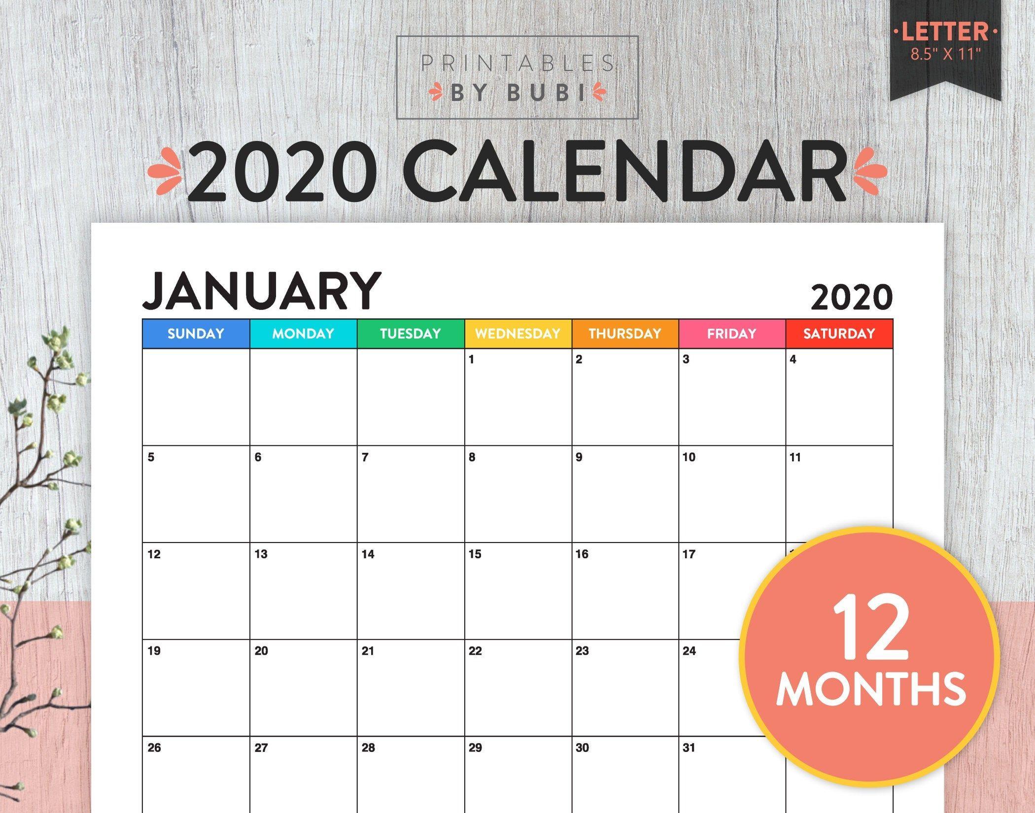 Printable Monthly Calendar 2020, Calendar Printable 2020