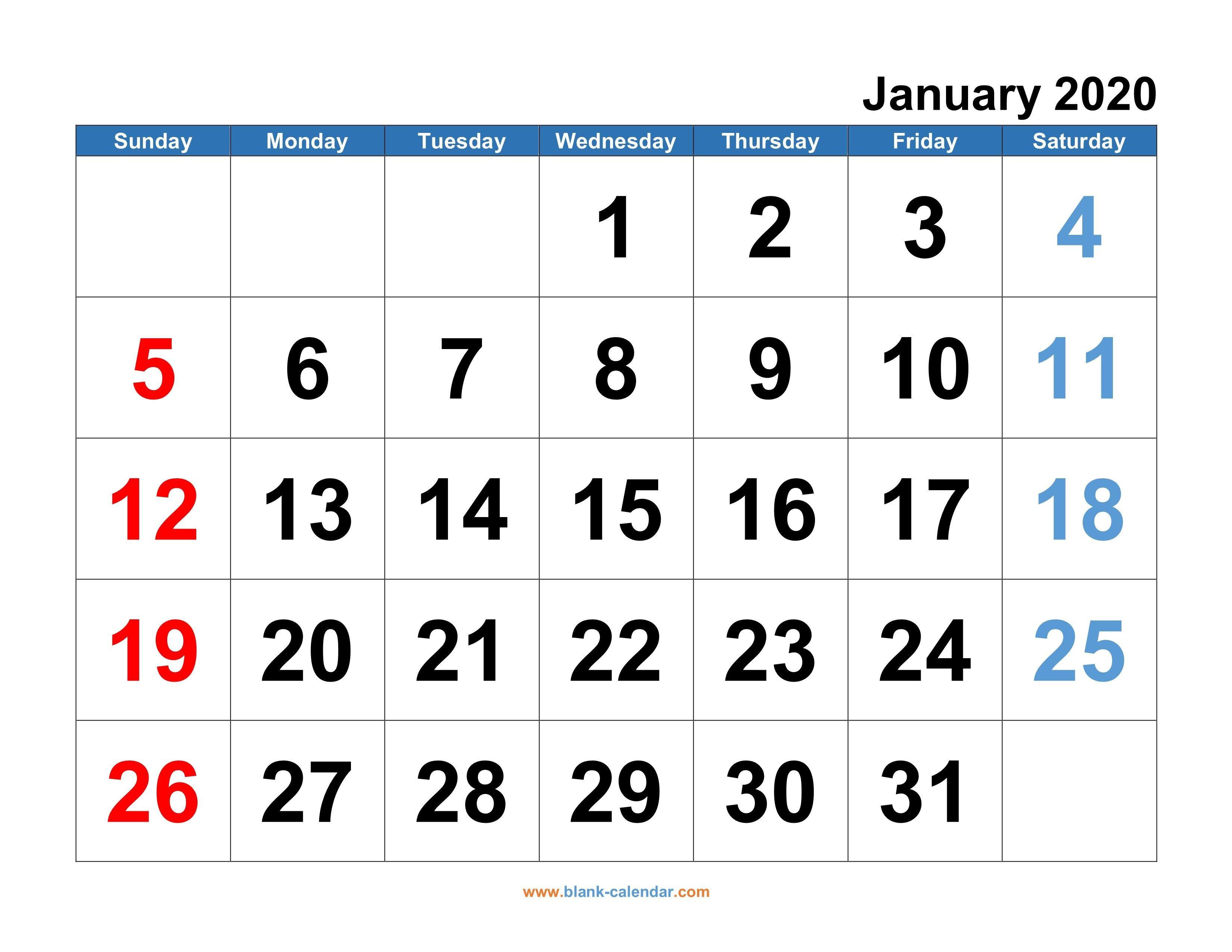 Printable Monthly Calendar 2020 Free – Allowed In Order To