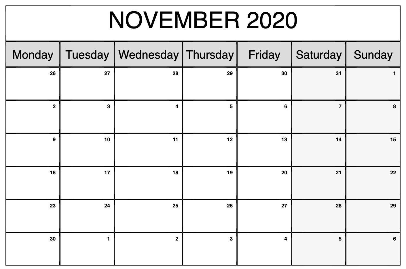 Printable November 2020 Calendar | Calendar, Custom Calendar