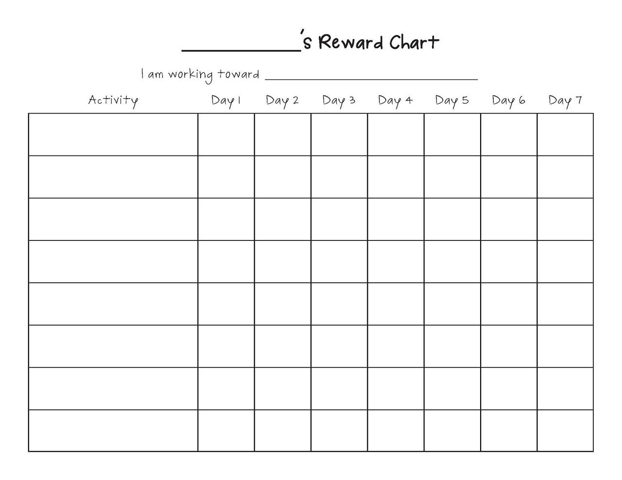 Printable Reward Chart Template | Reward Chart Template