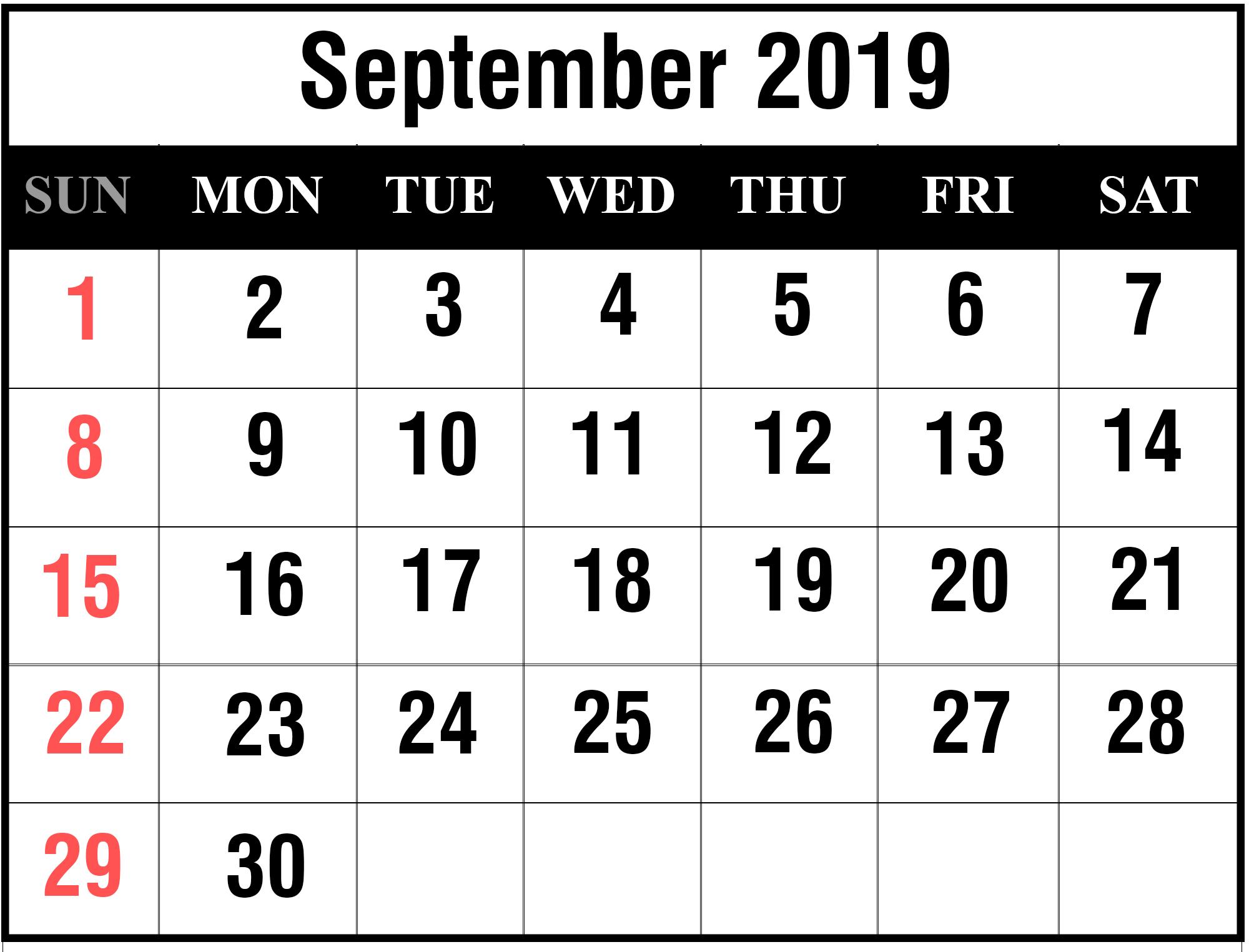 Printable September 2019 Calendar With Holidays [Pdf, Excel
