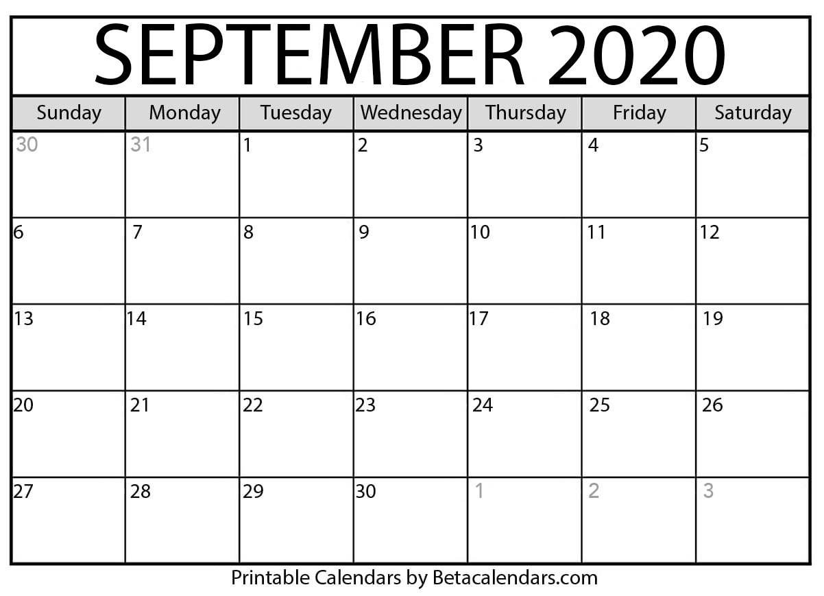 Printable September 2020 Calendar - Beta Calendars