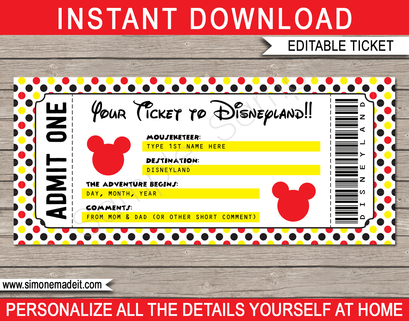 Printable Ticket To Disneyland Template | Surprise Trip To
