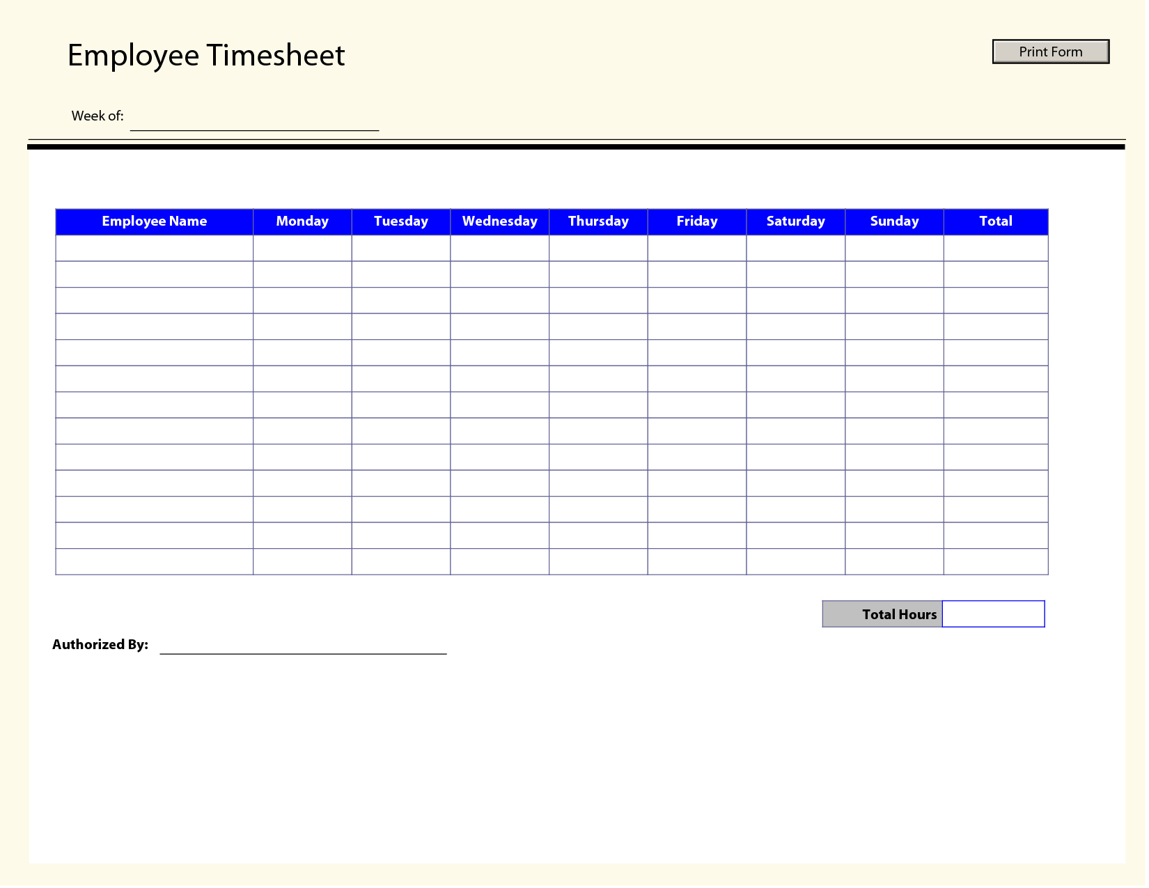 Printable Time Sheets | Free Printable Employee Timesheets