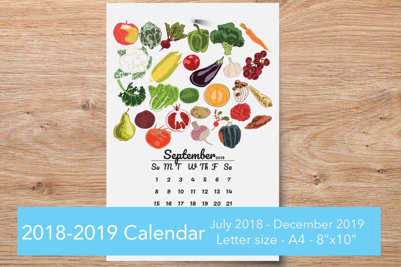 Printable Wall Calendar 2020, Seasonal Food Print Kitchen