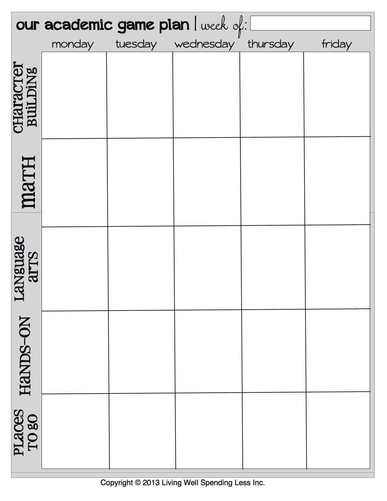 Printable Week Calendar | Free Printable Homeschool Planner