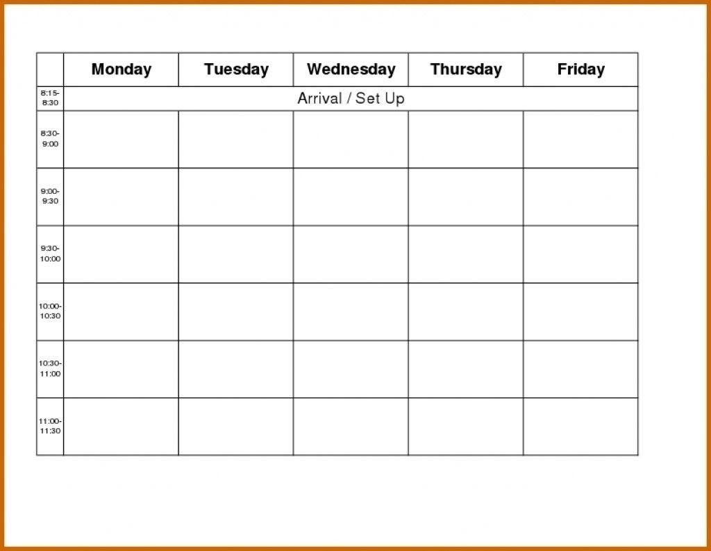 Printable Weekly R Monday Through Friday Template Blank Free