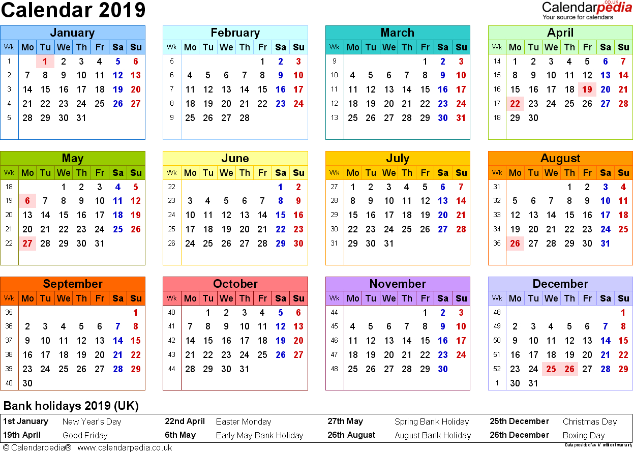 Printable Year At A Glance Calendar 2019