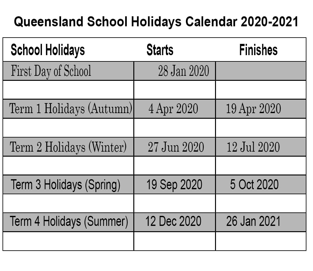 Calender With Qld Holidays 2020 Printable