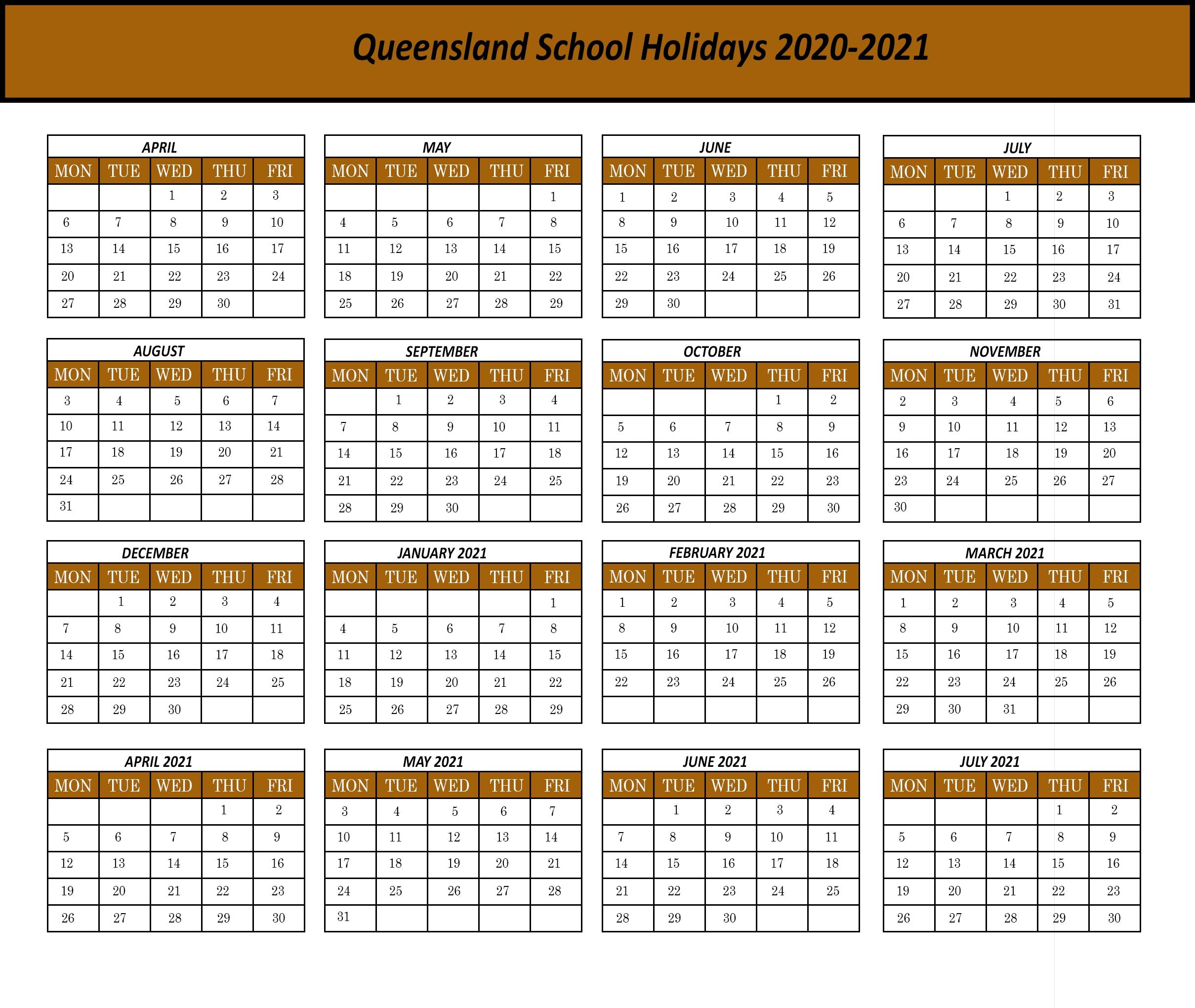 Qld School Holidays 2020 Calendar Template | Printable