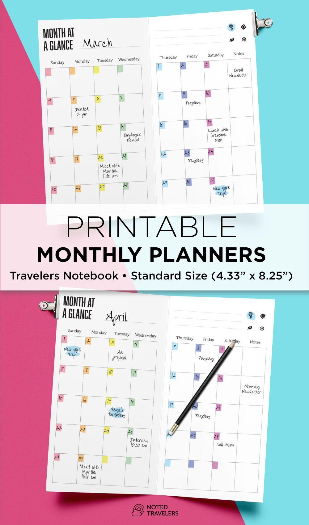 Rainbow Undated Monthly Planner, Travelers Notebook Standard