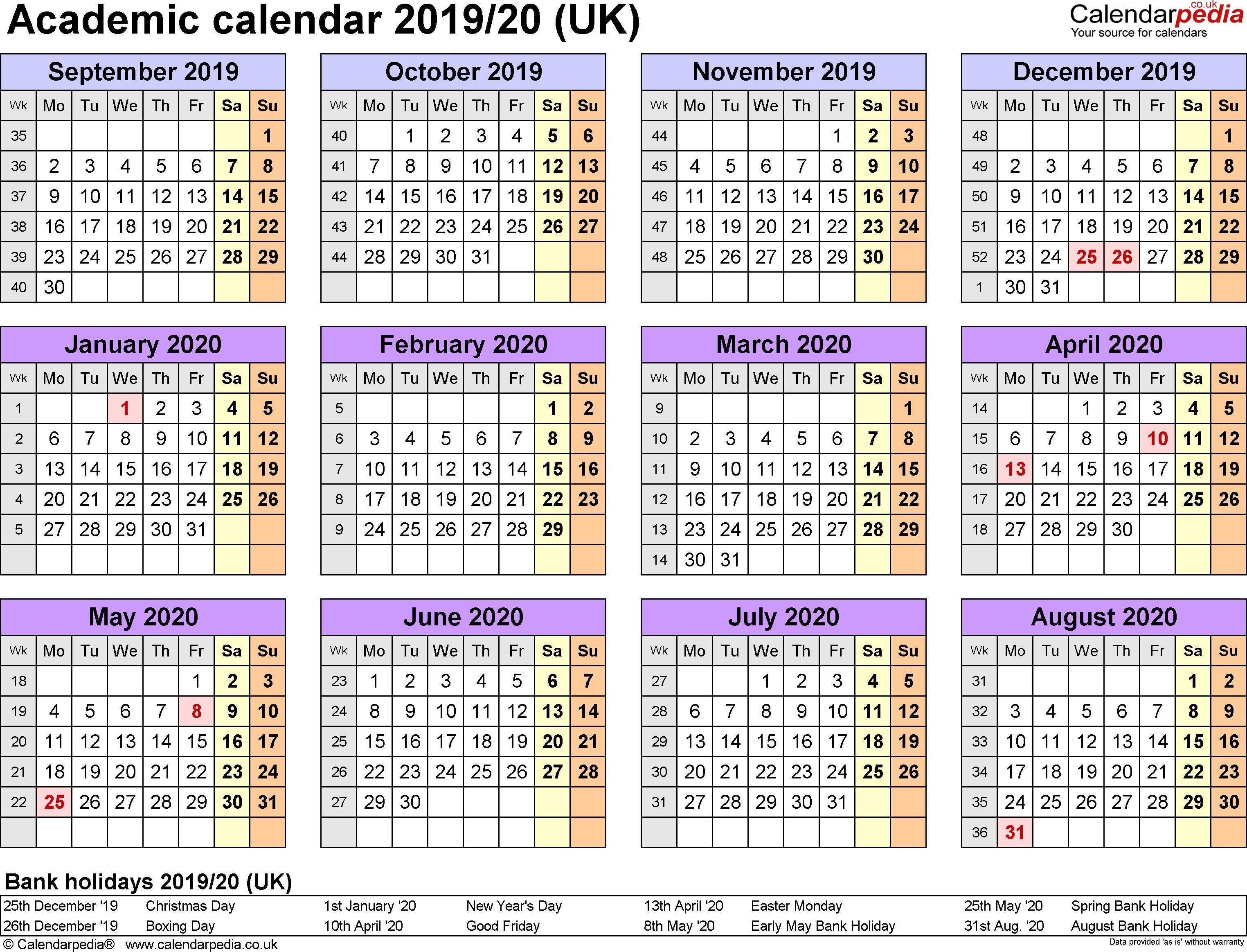 School Calendar Blank 2020/20 | Monthly Printable Calender