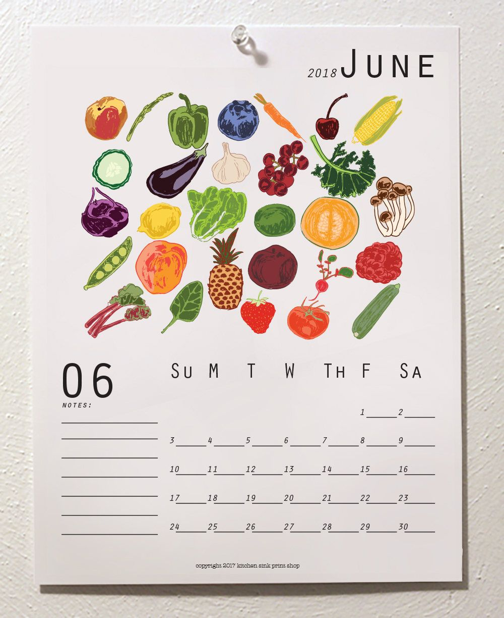 Seasonal Food Print Wall Calendar 2020, Seasonal Produce