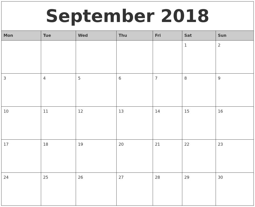 September 2018 Monthly Calendar Printable Monday Start