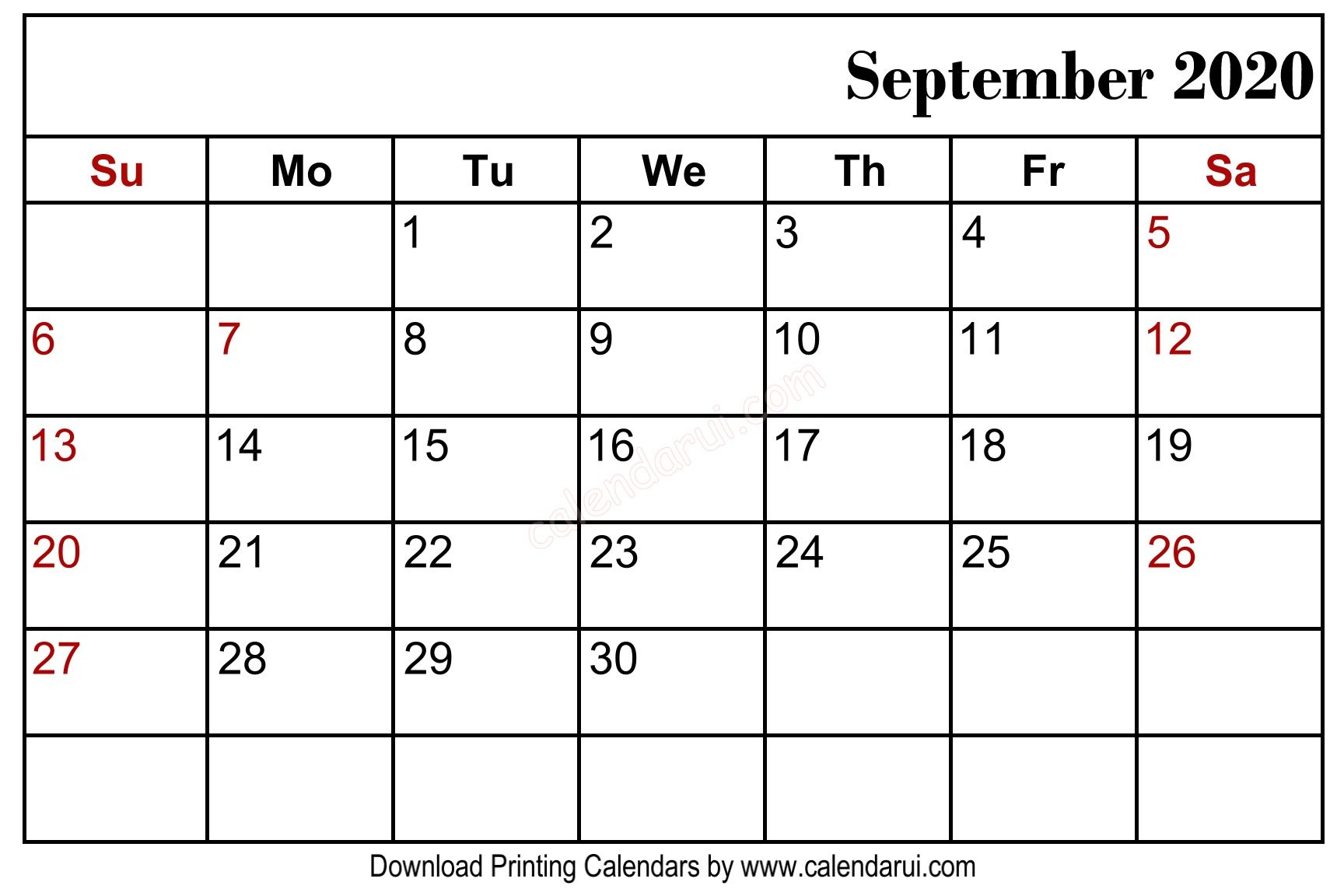 September 2020 Blank Calendar Printable Free Download