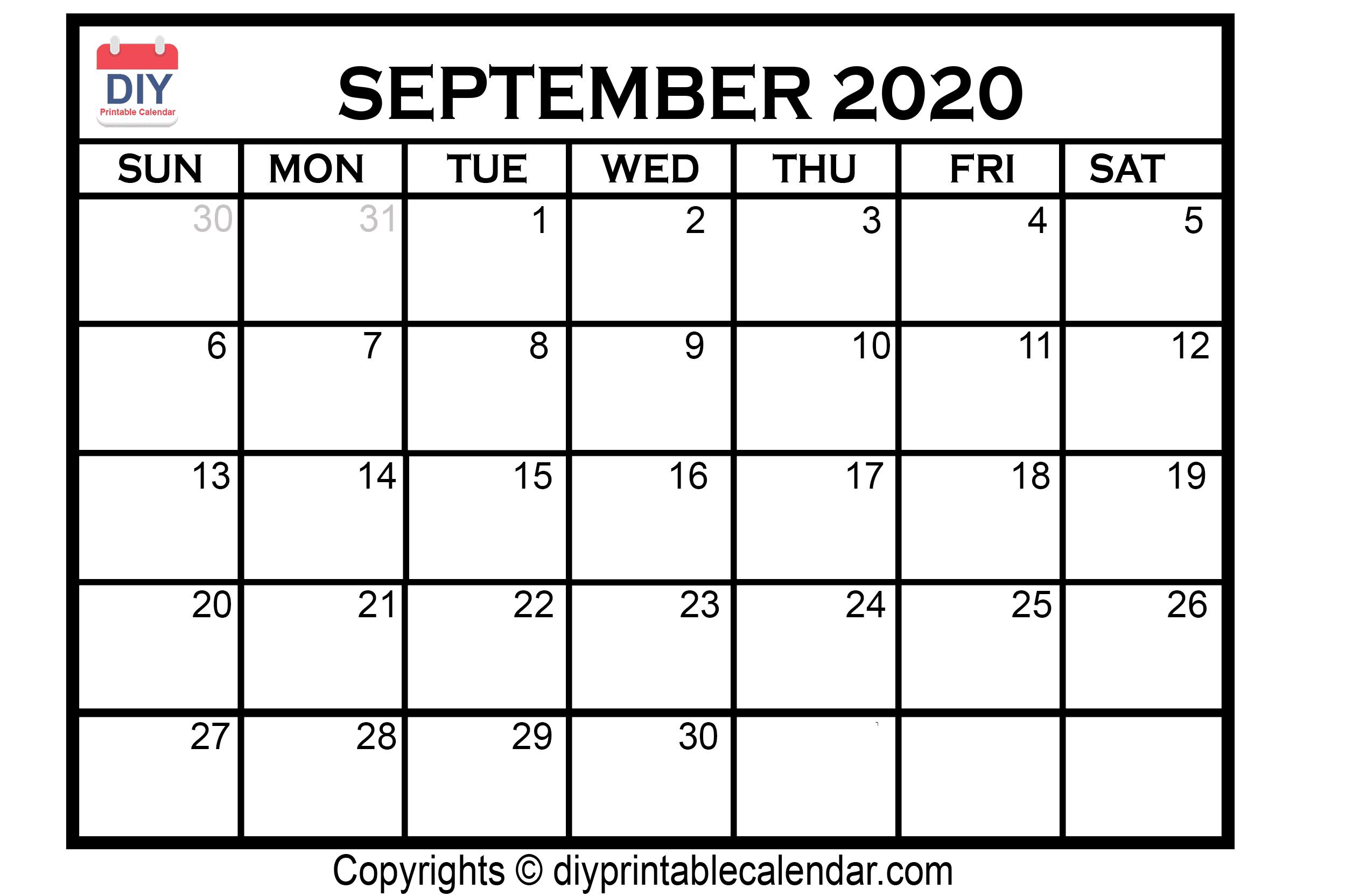 September 2020 Calendar Clipart