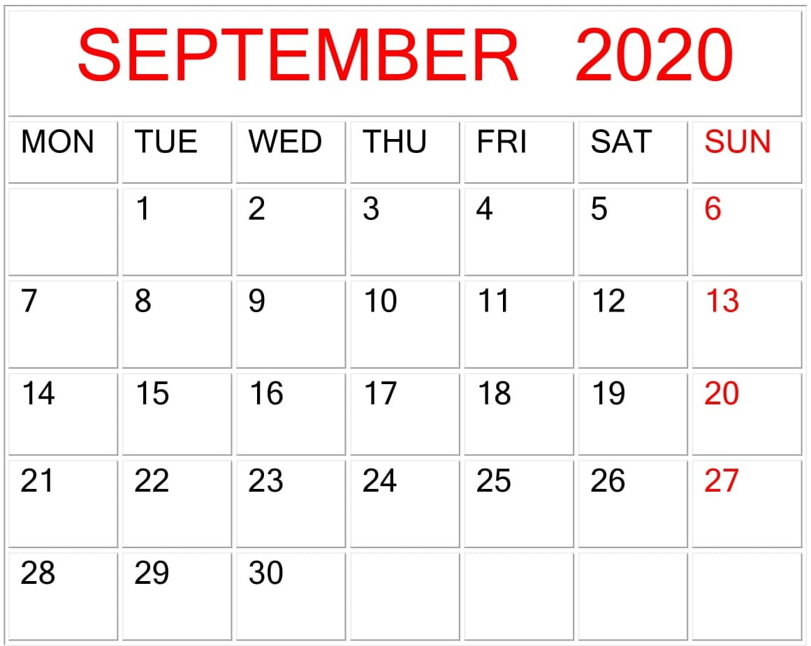 September 2020 Google Sheets Calendar Template – Free Latest