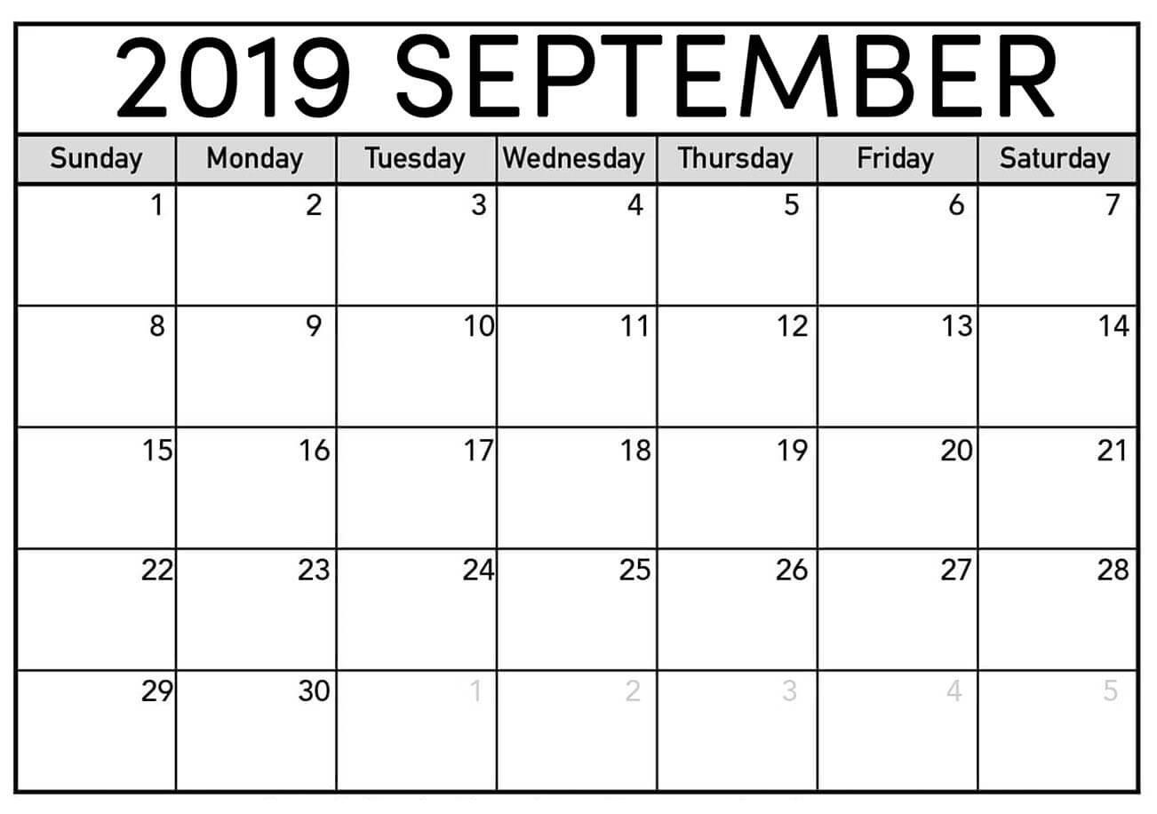 September Calendar 2019 Printable Sheet - Latest Printable