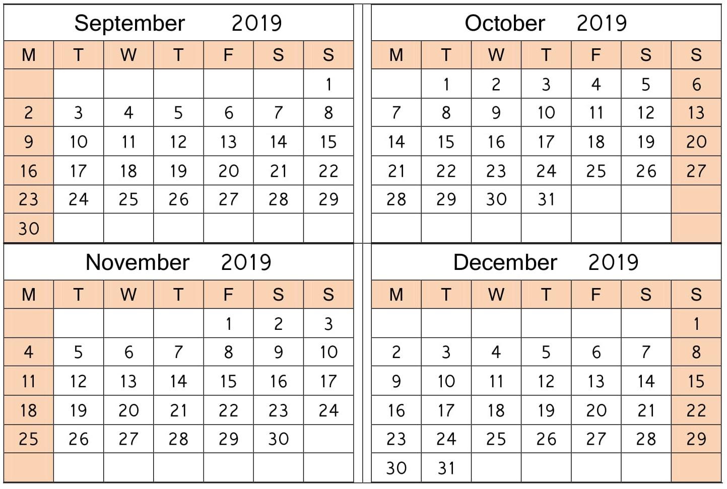 September October 2019 Calendar Printable Planner - Latest