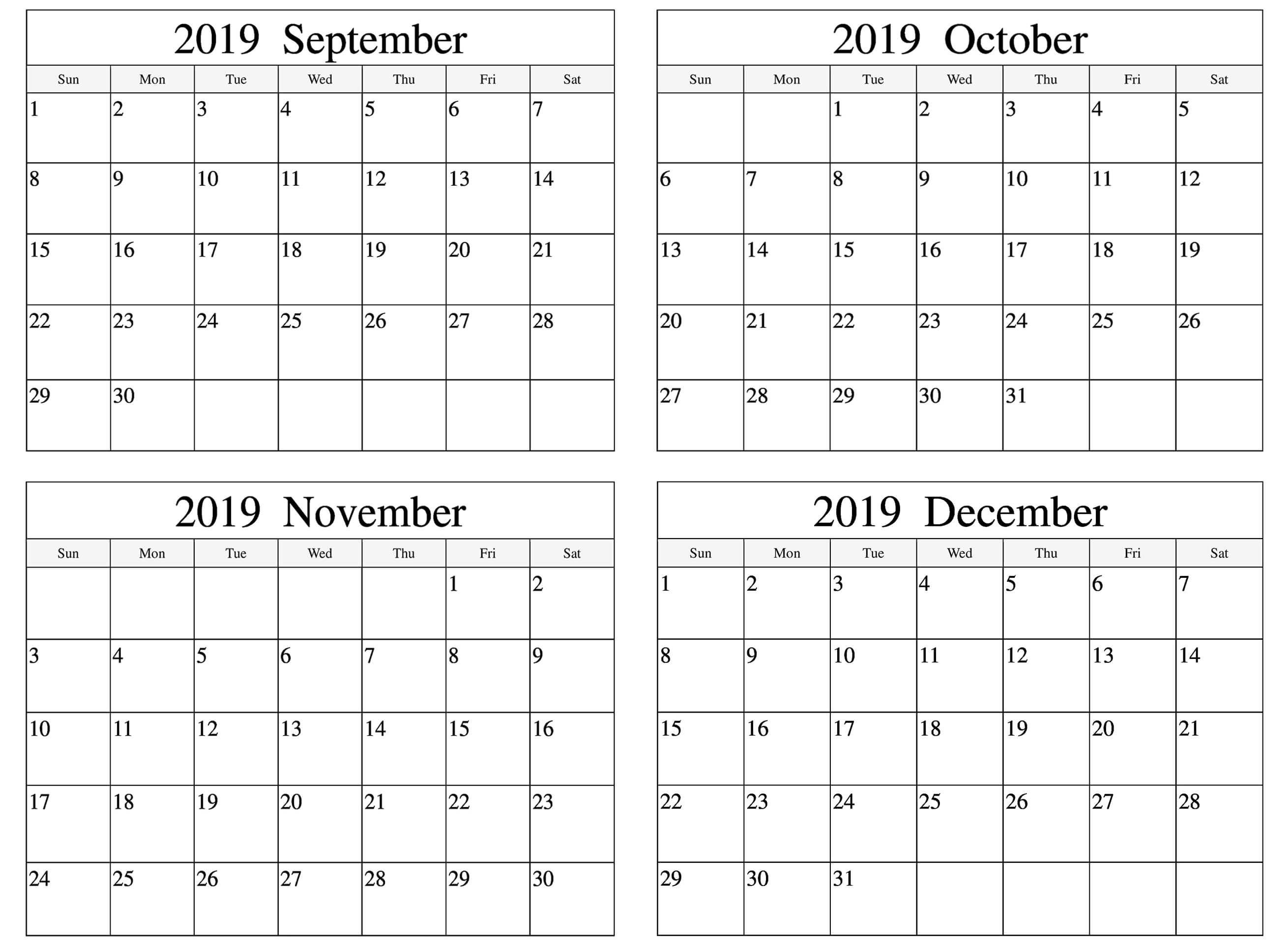 September To December 2019 Calendar Template | September
