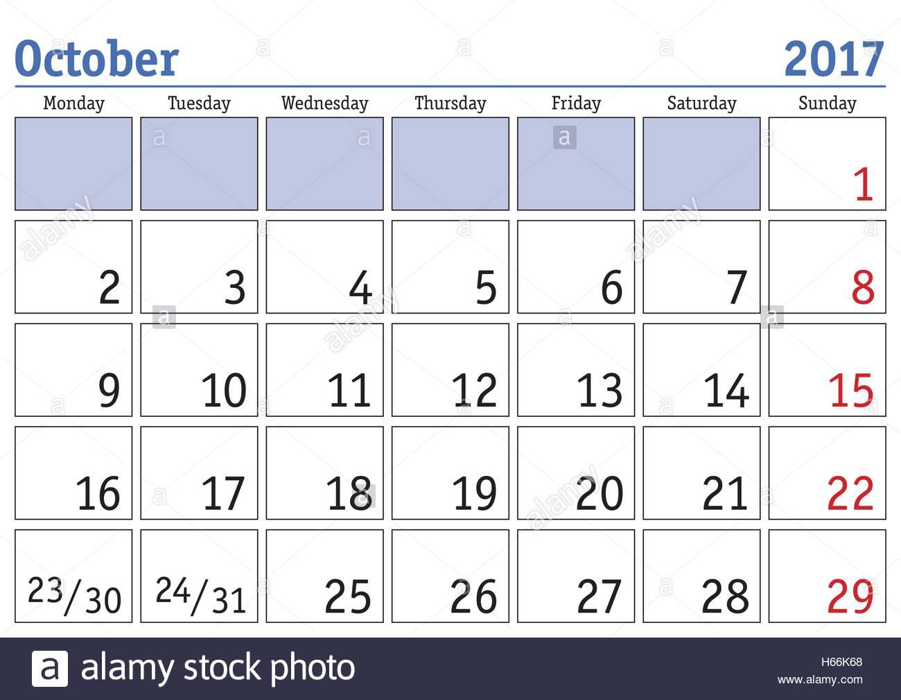 Simple Digital Calendar For October 2017. Vector Printable