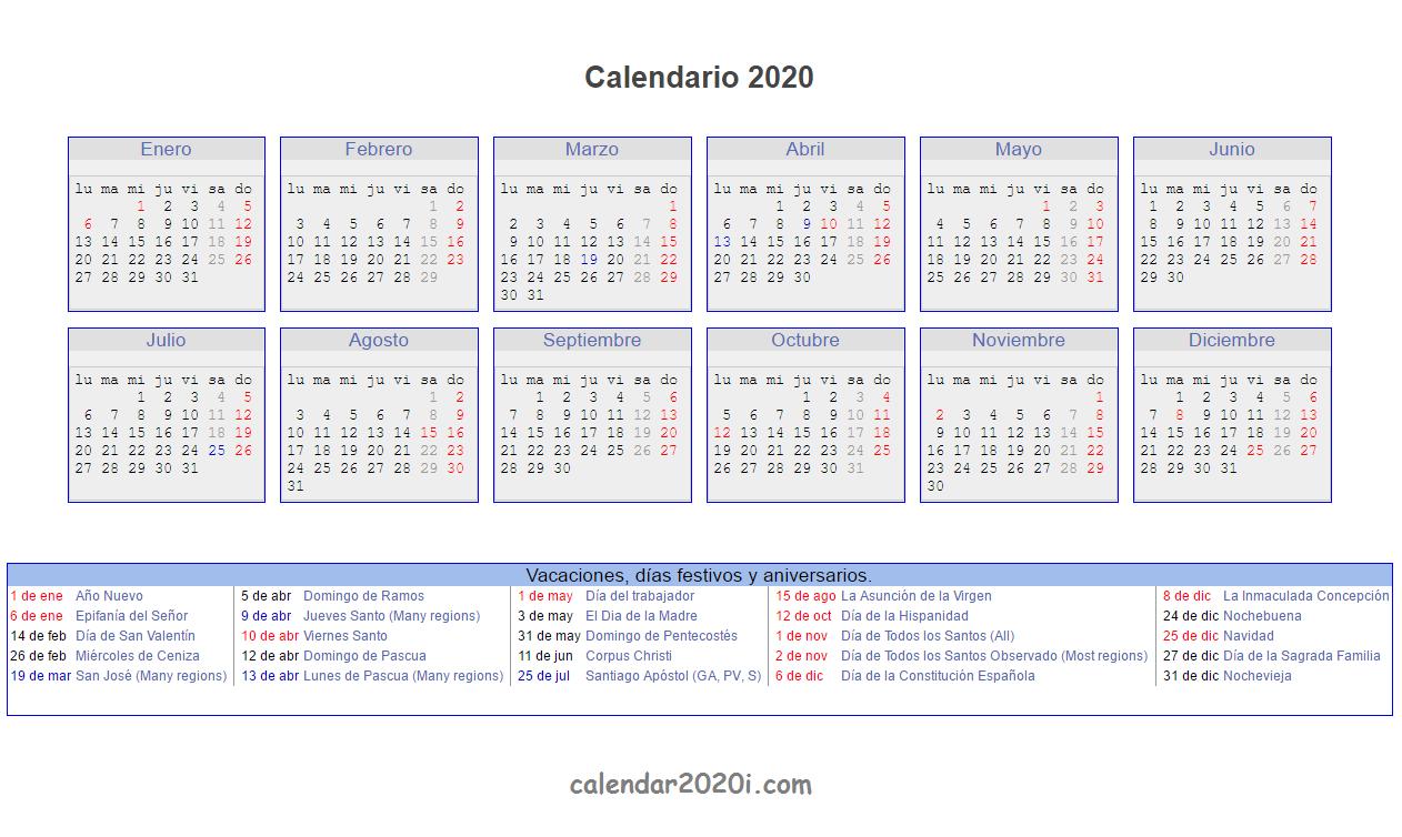 Spanish 2020 Printable Calendar With Holidays, Festivals