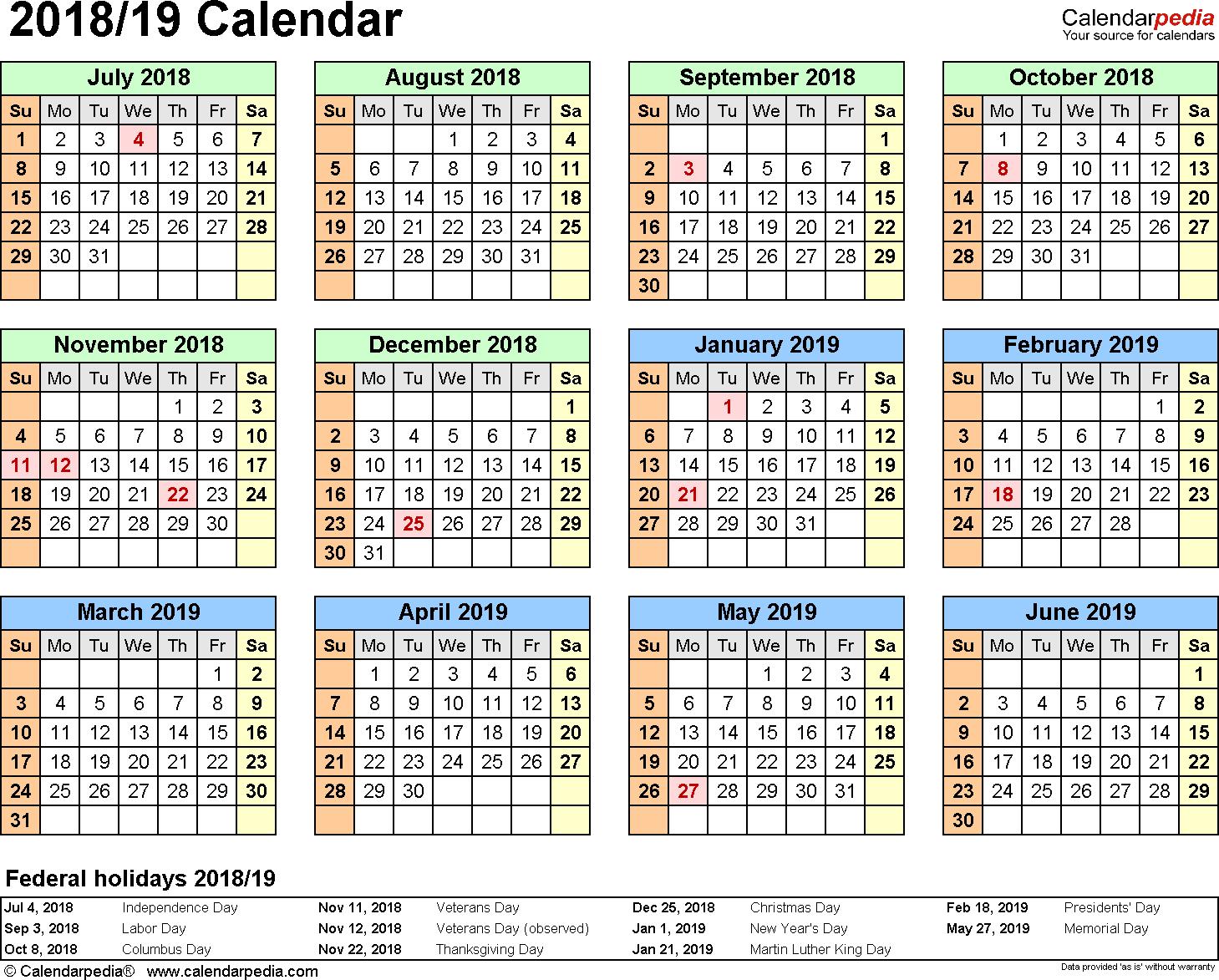 Split Year Calendars 2018/2019 (July To June) - Pdf Templates