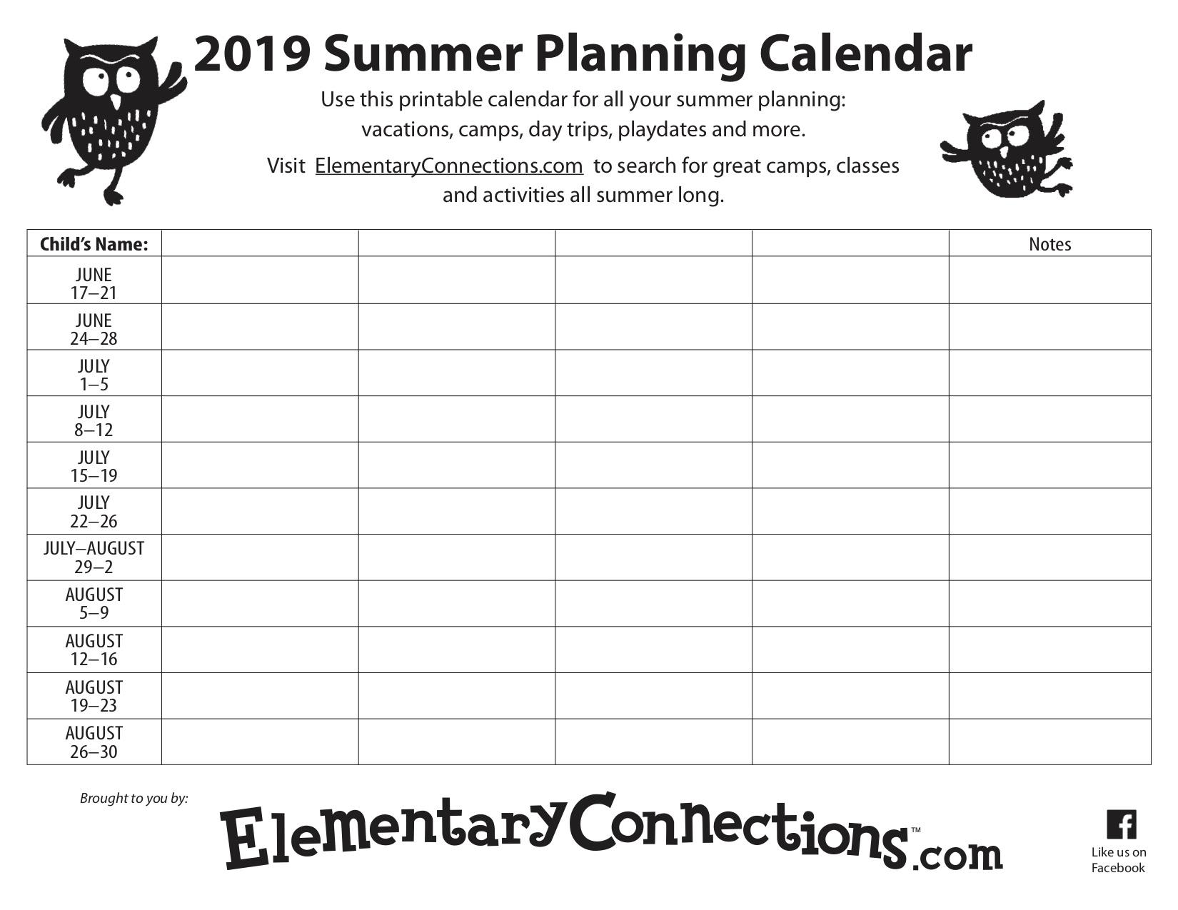 Summer Planner Calendar - Tunu.redmini.co