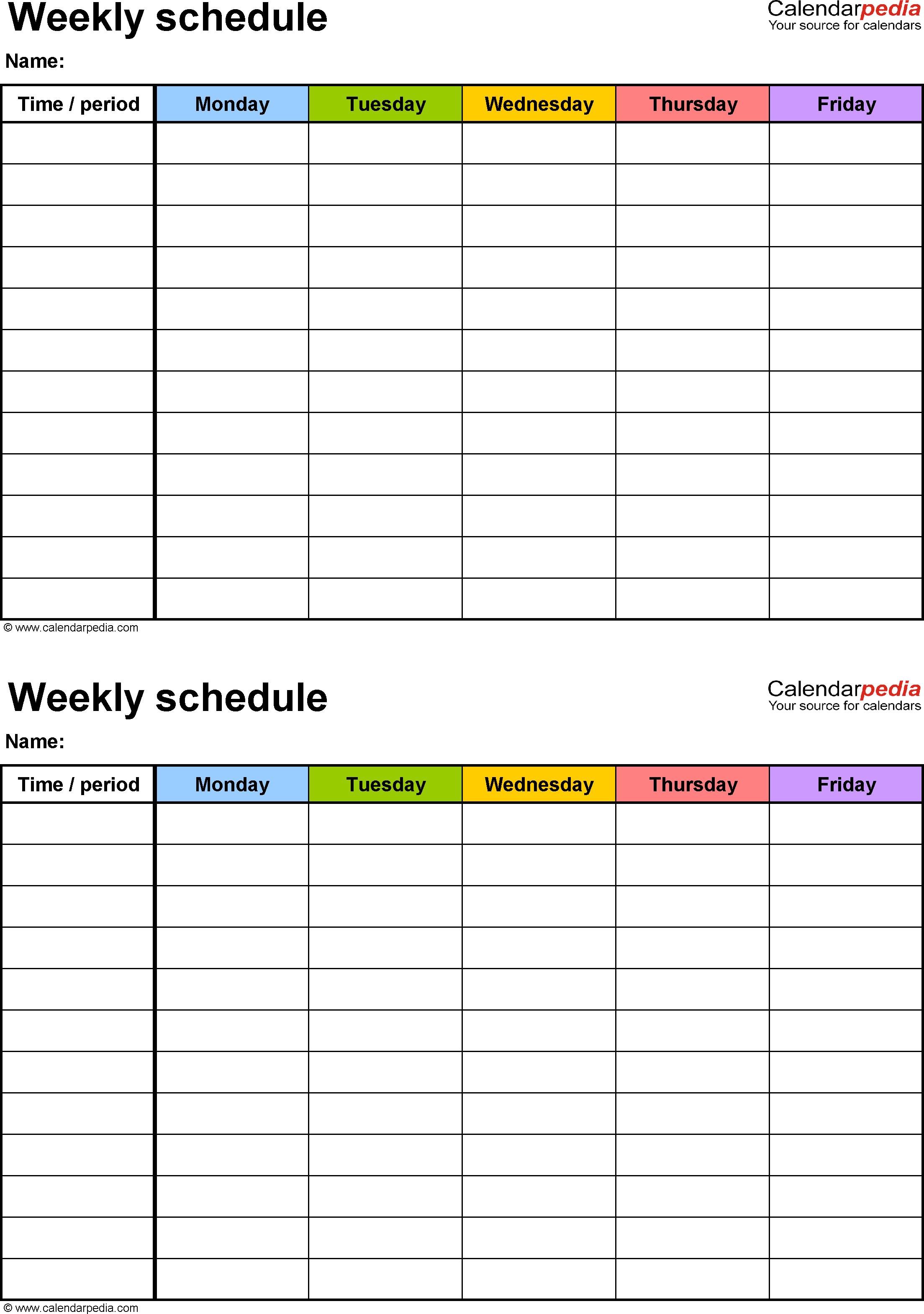 Summer Schedule Template - Colona.rsd7