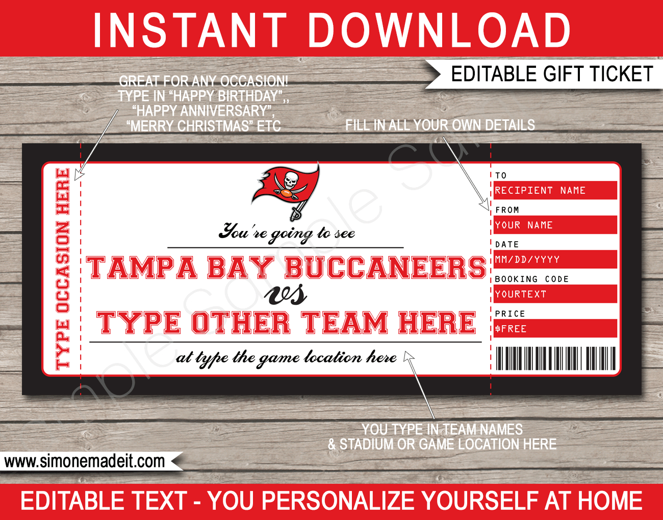 Tampa Bay Buccaneers Gift Vouchers