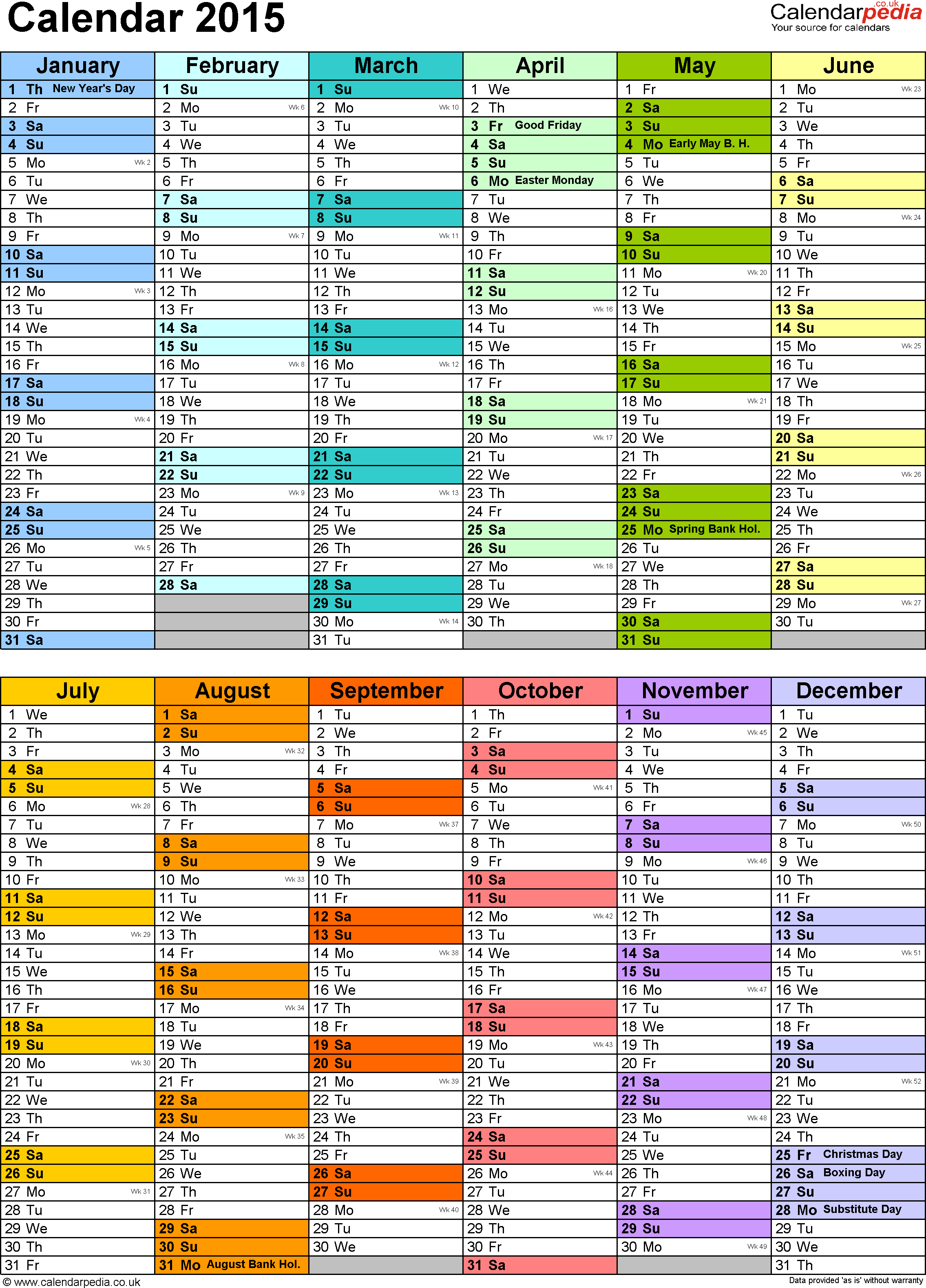 Template 11: Yearly Calendar 2015 As Word Template, Two Half