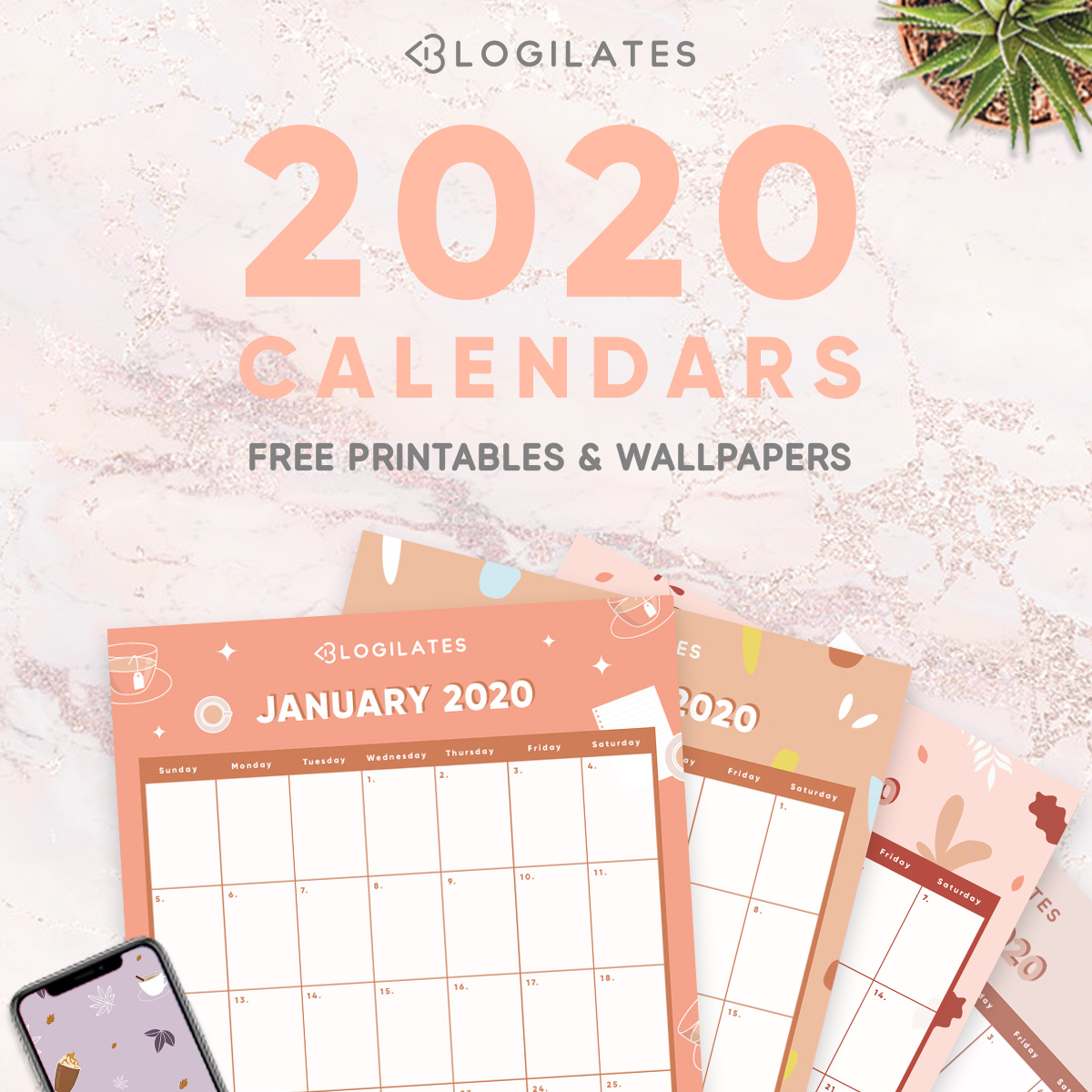 The Cutest 2020 Printable Calendars *free* – Blogilates