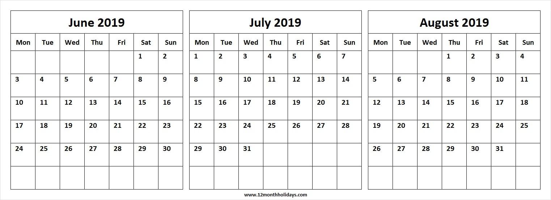 Three Month Calendar June July August 2019 | Editable
