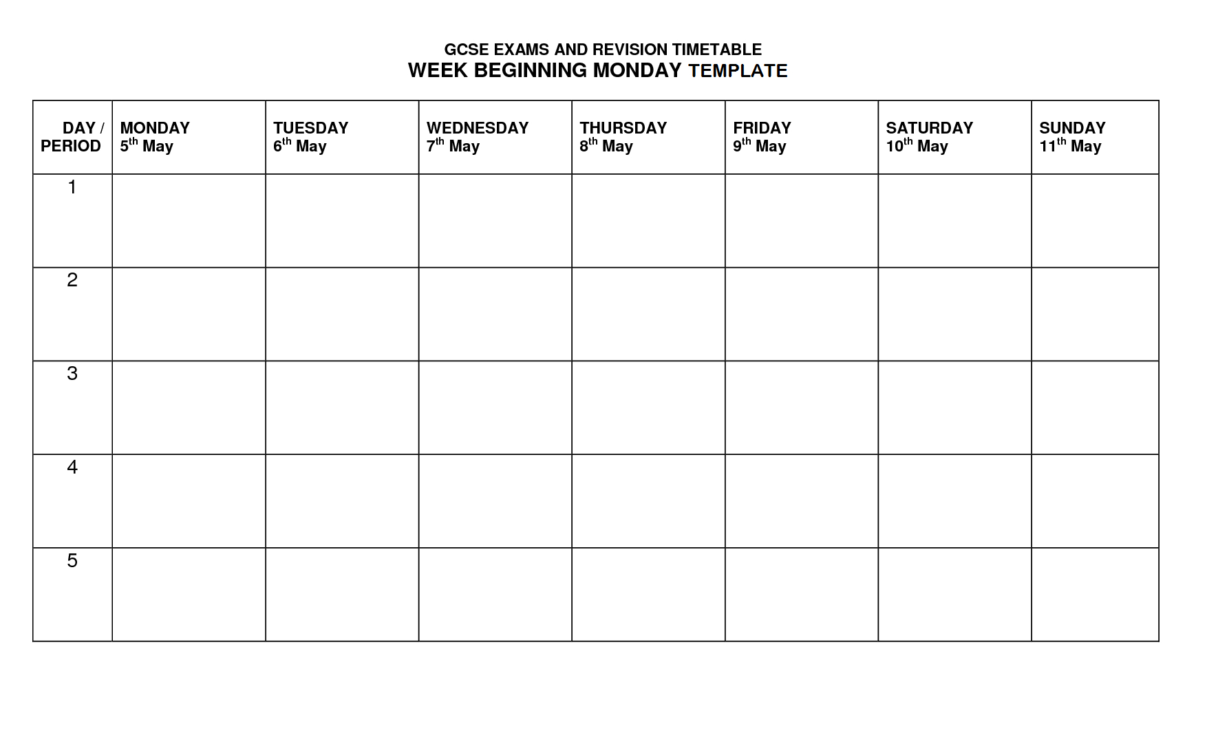 Timetable Template | Timetable Template, Revision Timetable