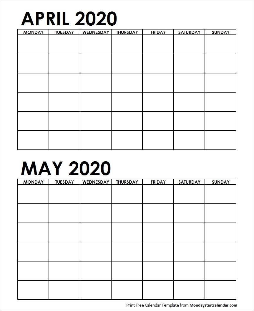 Two Month April May 2020 Calendar Blank | Two Months