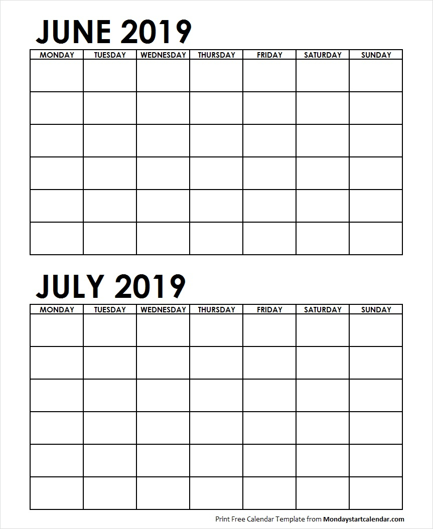 Two Month June July 2019 Calendar Blank | Two Months Template