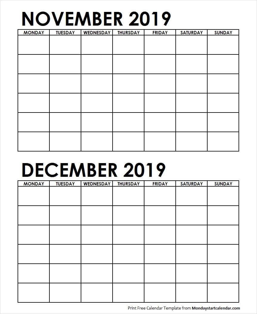 Two Month November December 2019 Calendar Blank Template