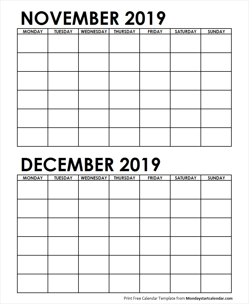 Two Month November December 2019 Calendar Blank Template